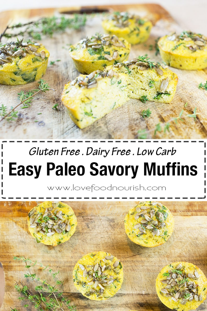 These paleo savory muffins are moist, light and tasty! Packed with veggies they make a nutritious low carb snack! The paleo muffins are easy to make and great for lunchboxes. #glutenfree #paleo #dairyfree #glutenfreemuffins #glutenfreebaking #paleodiet #lowcarb #lowcarbideas #lunchboxideas #healthyrecipes #lowcarbrecipes