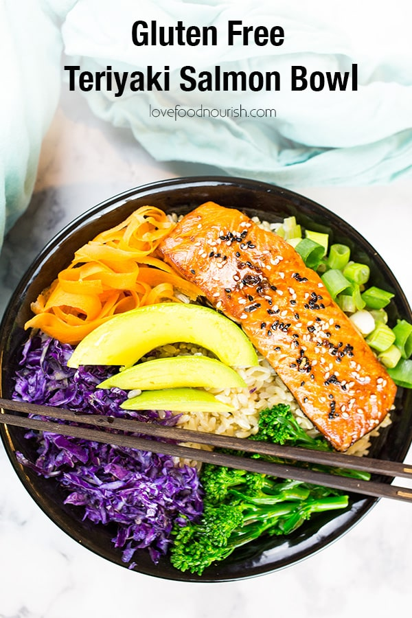 You will love this Gluten Free Teriyaki Salmon Bowl! This healthy salmon bowl makes a healthy and easy dinner that is full of flavour. #healthyasianfood #glutenfree #teriyaki #salmon #ricebowl #asianfood #seafood #teriyakisalmon #glutenfreedinner