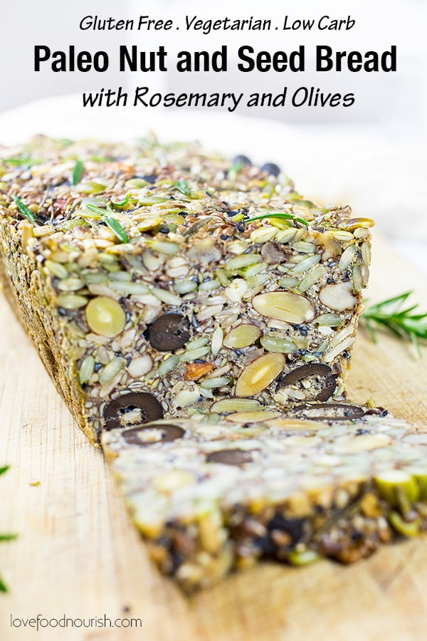 You will love this paleo bread with rosemary and olives, it goes perfectly with some avocado, pesto or hummus or a slather of butter or a simple poached egg on top! This paleo bread is low carb but super filling! So easy to make - gluten, grain and yeast free, nutrient dense and very tasty!#paleobread #paleo #paleorecipes #glutenfree #glutenfreebread #paleobreakfast #grainfree #lowcarb #lowcarbbreakfast #lowcarbrecipes