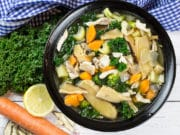 Healthy Homemade Chicken and Vegetable Miso Soup - Birds Eye view