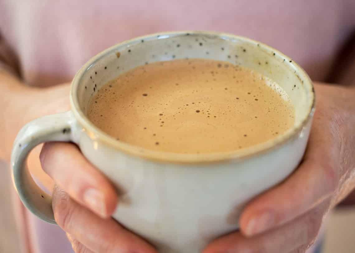 Mug of Paleo Hot Chocolate with Anti-Inflammatory Spices.