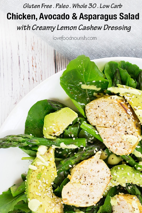 Chicken & Avocado Salad with Asparagus, topped by Lemon Cashew Dressing - A healthy and easy chicken salad with a creamy dairy free lemon dressing that tastes delicious.#paleo #glutenfree #dairyfree #chickensalad #avocado #chicken #salad #glutenfreedinner #paleodinner #chickenandavocadosalad #asparagus #whole30dinner #lowcarbdinner #whole30recipe #lowcarbrecipe #paleorecipe