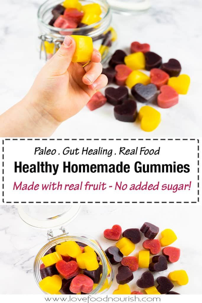 Healthy Homemade Gummies madw with real fruit and no added sugar! Your kids will love these homemade gummies with 3 different flavours they make a fun healthy snack! #gummies #paleosnack #homemadegummies #healthysnack #kidssnack #kidslunchbox #glutenfree #sugarfreesnack #paleo