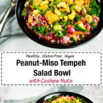 Peanut-Miso Tempeh Salad Bowl with Cashew Nuts - A hearty, healthy and delicious vegan rice salad with marinated tempeh and cashew nuts.#salad #glutenfree #vegan #vegandinner #tempeh #saladbowl #glutenfreedinner #ricesalad #ricebowl #glutenfreevegan