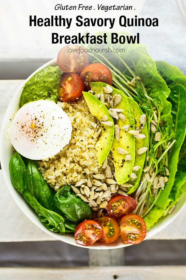 Healthy Savory Quinoa Breakfast Bowl with Poached Egg, Avocado & Pesto. A delicious gluten free breakfast salad full of greens and good nutrition that will get you going for the day! #glutenfreebreakfast #breakfastbowl #cleaneatingbreakfast #eggs #avocado #quinoa #healthybreakfast #glutenfree #dairyfree #vegetarian #savorybreakfast #breakfastsalad #quinoabreakfastbowl