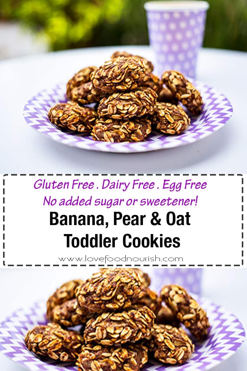 Banana, Pear & Oat Toddler Cookies. No added honey, sugar or sweetener. Healthy, easy, allergy friendly oat cookies - your toddlers will love them! A healthy kids snack that is quick and easy to make!#glutenfree #sugarfree #glutenfreecookies #dairyfree #eggfree #veganbaking #glutenfreebaking #eggfreebaking #oatcookies #toddlercookies #allergyfriendlycookies #healthycookies