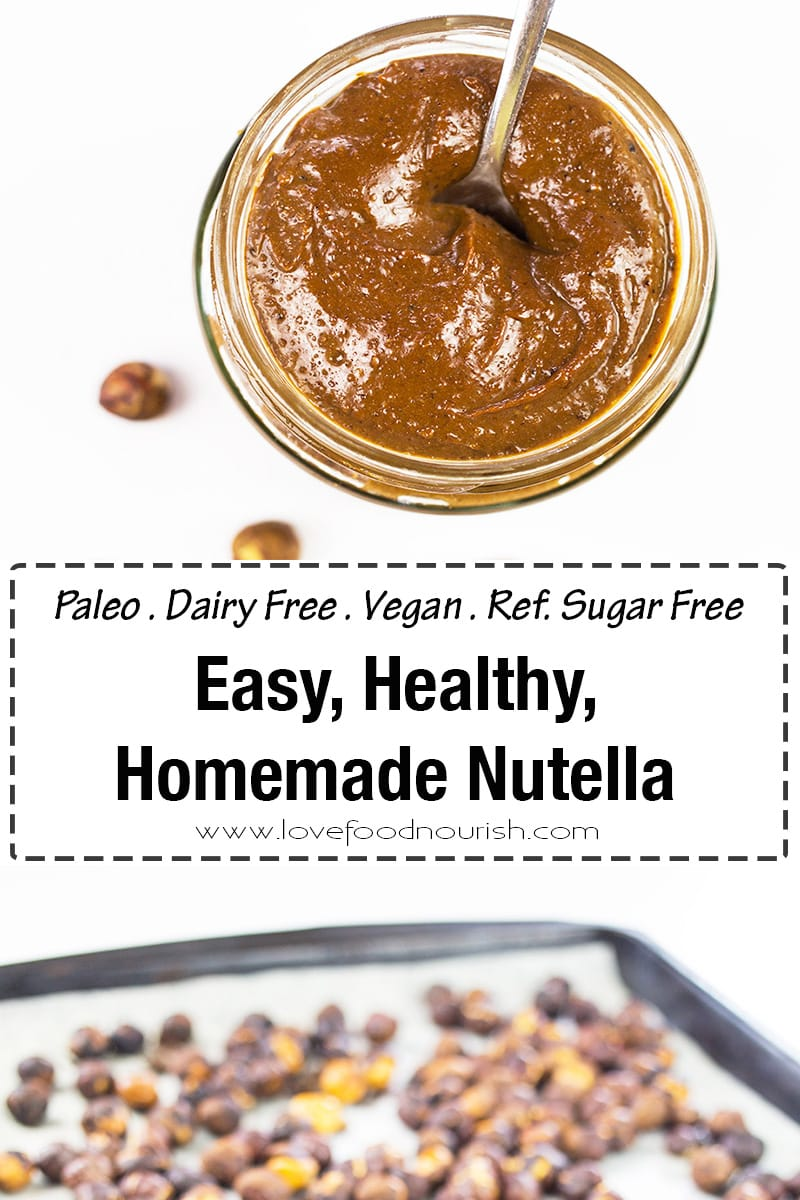 Homemade Nutella - This vegan, dairy free and paleo nutella is so easy to make, tastes amazing and is a healthier version of your store bought nutella with no refined sugar added. #paleo #vegan #dairyfree #nutella #refinedsugarfree #chocolate #homemadenutella #paleonutella #vegannutella