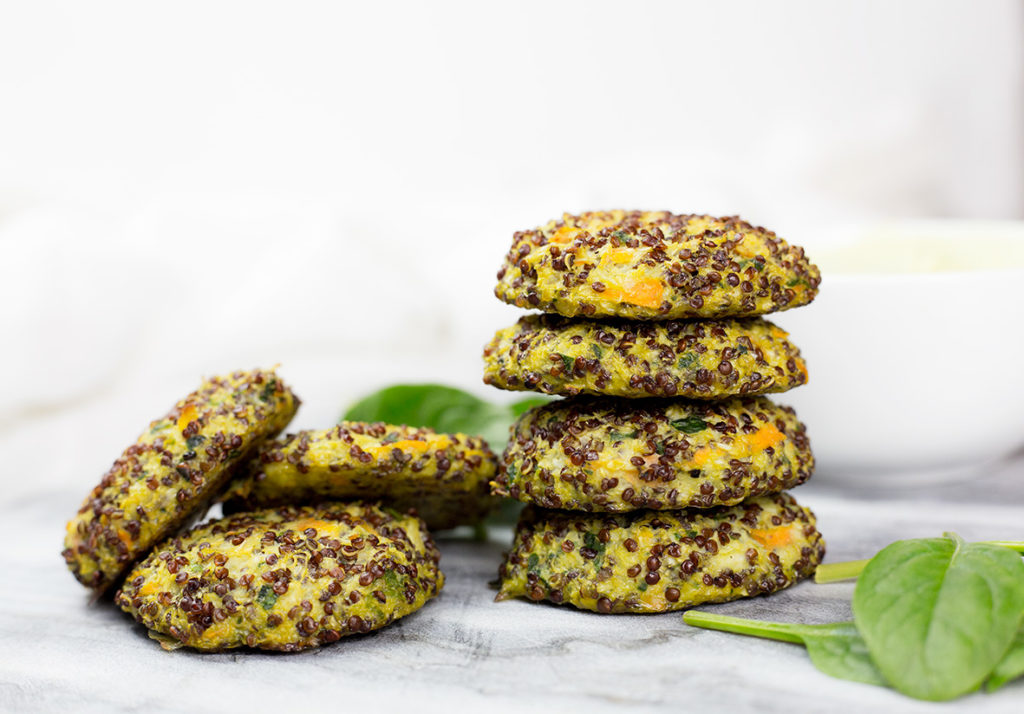Baked quinoa veggie patties with avocado dipping sauce