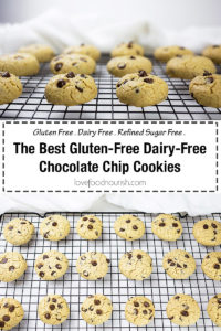 You will love these gluten free dairy free chocolate chip cookies. They are so easy to make and taste just like the original chocolate chip cookie if not better! These gluten free chocolate chip cookies are the perfect balance between slightly firm, light and airy. These cookies are gluten free, dairy free and refined sugar free, they also contain no xantham gum.#glutenfreechocolatechipcookies #dairyfreechocolatechipcookies #chocolatechipcookies #glutenfreebaking #dairyfreebaking #glutenfree