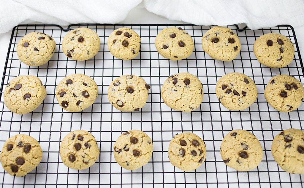 Gluten Free Chocolate Chip Cookies on tray cooling down