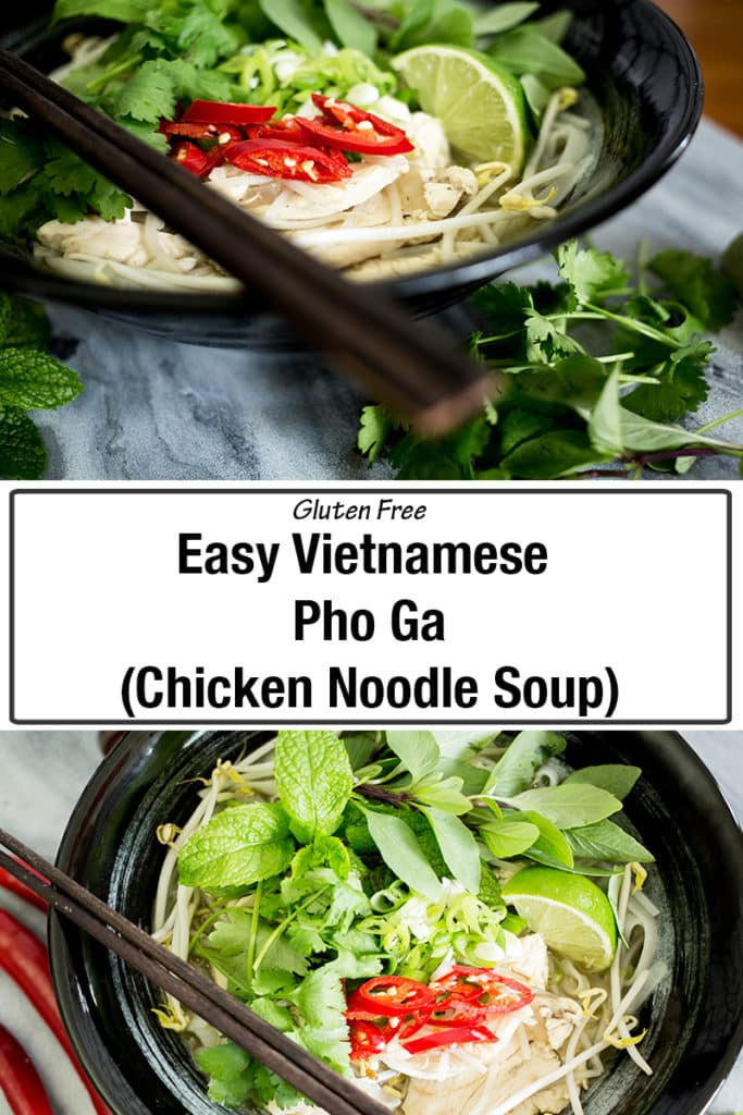 This Vietnamese Chicken Pho is a refreshing, fragrant and healthy chicken noodle soup cooked in a delicious broth, topped by an abundance of fresh herbs. This is healthy asian food made with a full flavoured homemade chicken stock that you will love! This gluten free recipe is healthy and easy! #chickensoup #vietnamesefood #chickenpho #glutenfree #asianfood #chickennoodlesoup #asiansoup #healthysoup #chickenrecipe #chicken #glutenfreerecipe