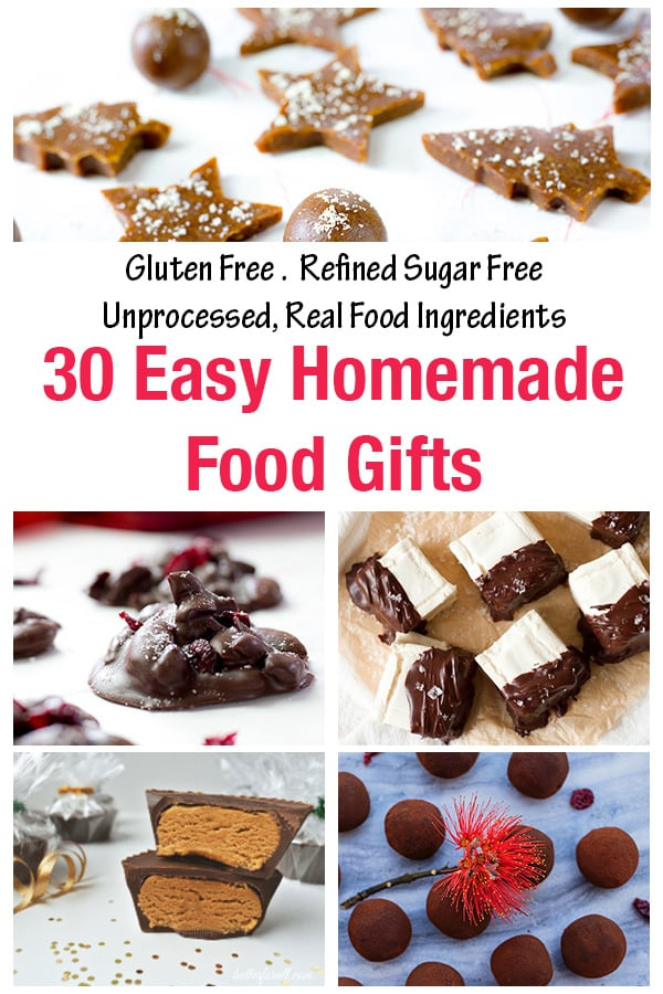 30 homemade food gifts made from real nourishing food and unprocessed ingredients! You will love these easy to make edible gifts - there is something here for everyone! These homemade gifts are gluten free, allergy friendly, refined sugar free, some are paleo friendly too! #christmas #christmasrecipes #paleorecipes #glutenfreerecipes #glutenfreechristmas #ediblegifts #christmasgifts #refinedsugarfree #glutenfree