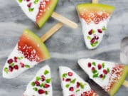 These watermelon coconut popsicles make a fun Christmas treat for the Kiwi or Australian summer. So easy to make, no added sugar or nasties, kids will love these fun and festive summer treats. Paleo, Vegan & Dairy Free. #paleorecipe #popsicles #watermelon #lowcarbrecipes #lowcarbdesserts #veganrecipes #sugarfreerecipes
