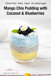 This mango chia pudding with coconut and blueberries is fresh, creamy, fruity and fun to make and eat! This makes a fresh and tasty paleo breakfast treat or a healthy paleo dessert. Dairy free & sugar free. #paleo #chiaseeds #chiapudding #vegan #glutenfreebreakfast #dairyfree #glutenfree #veganbreakfast #dairyfreebreakfast #mango #blueberries #smoothie #paleobreakfast #lowcarb #lowcarbrecipes #paleorecipes