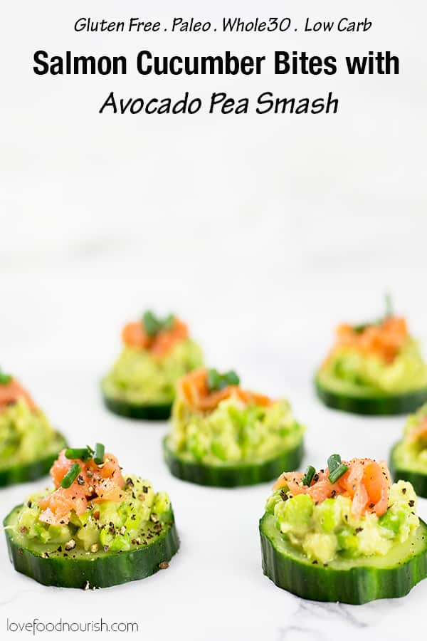 These smoked salmon cucumber bites with avocado pea smash make the perfect healthy appetizer. This easy appetizer requires no baking just keep in the fridge until ready to serve. Paleo, Whole30, low carb, dairy free and gluten free.#paleorecipes #salmon #appetizer #appetizerrecipeslow-carb 