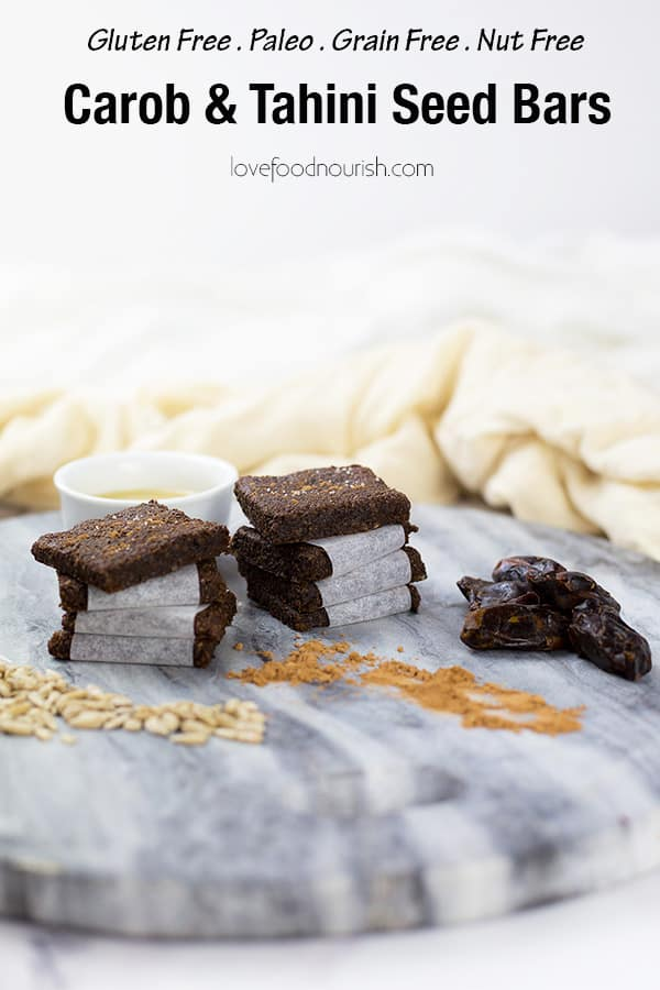 These Carob and Tahini Seed Bars make a healthy snack for kids or adults. Nut free, gluten & dairy Free with no added sugar. These healthy bars have a delicious flavour from the carob without the caffeine hit you can get from cacao or chocolate making them a great kids snack. #paleo #glutenfreerecipes #dairyfree #grainfree #nutfree #healthysnacks #lunchboxideas #allergyfriendly #healthykids