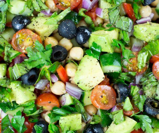 Close up of Mediterranean Chickpea Salad