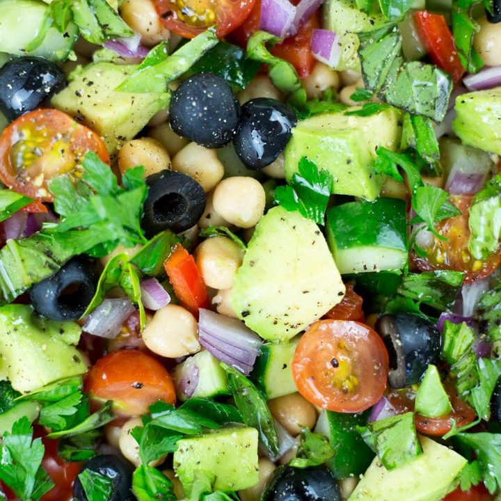 Close up of Mediterranean Chickpea Salad