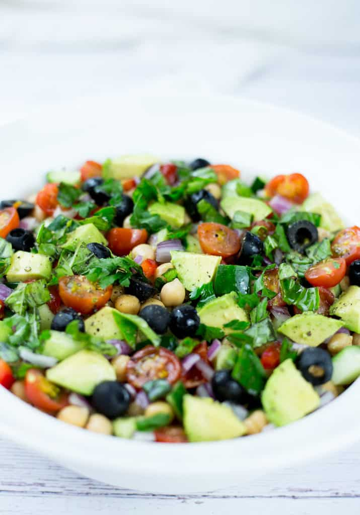 Mediterranean Chickpea Salad in a white bowl.