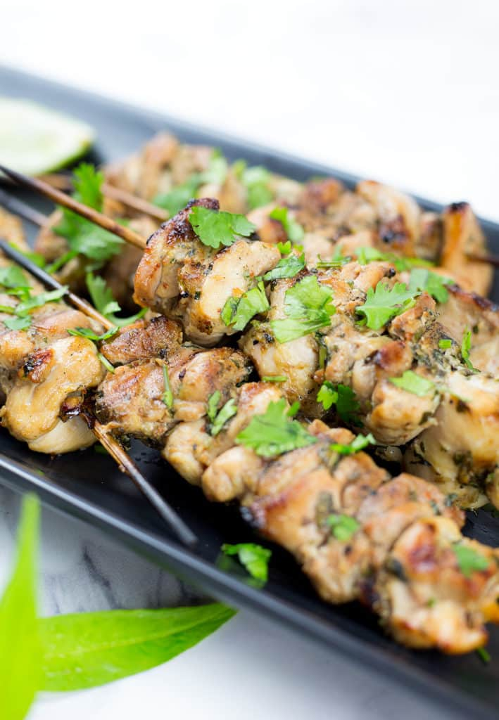 Close up of marinated chicken skewers