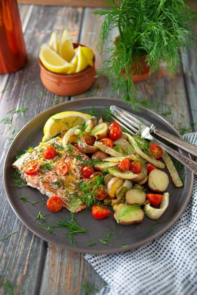 Roasted Salmon and Fennel with Potatoes