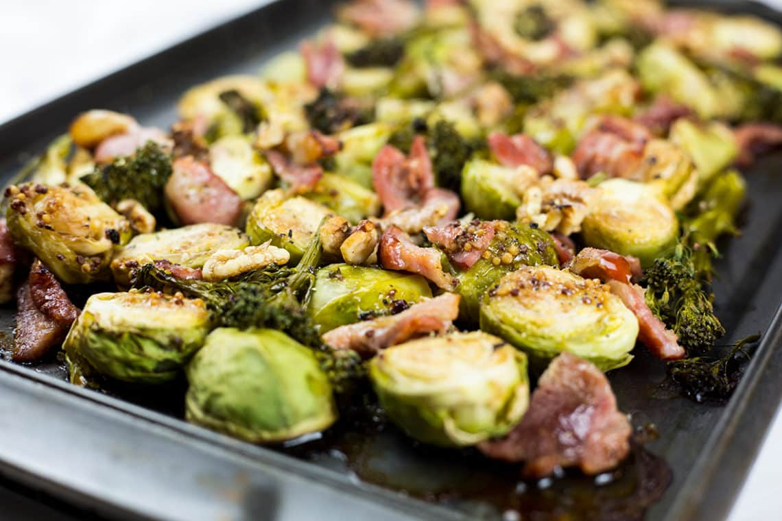 Balsamic Roasted Brussels Sprouts With Bacon Broccolini