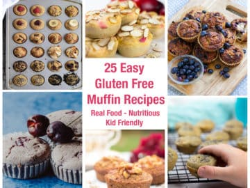 A collage of picture of gluten free muffins with text overlay.