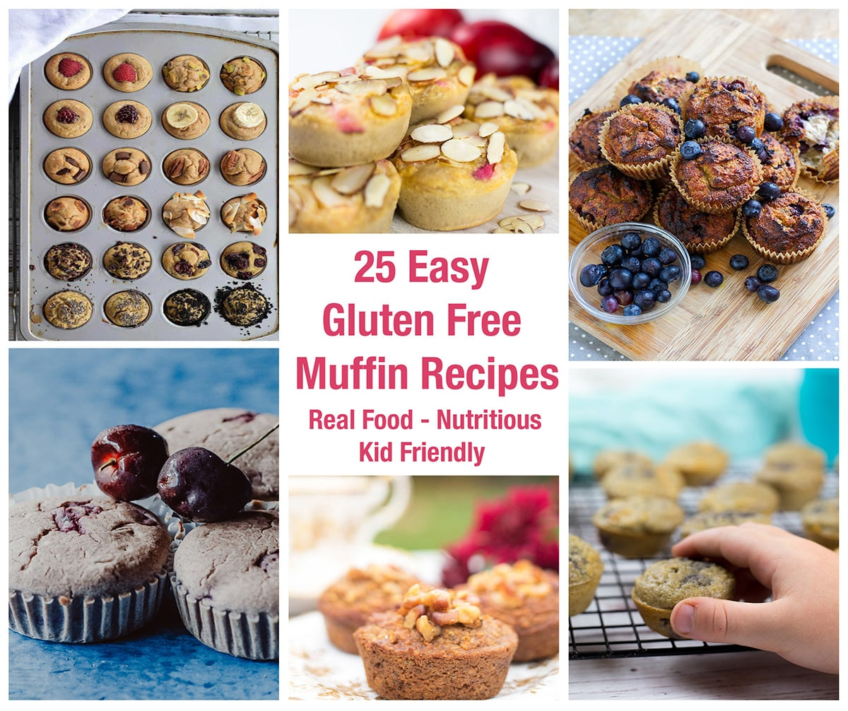 Collage with text for gluten free muffin recipes, showing selection of different muffins.