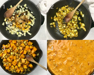 Process shots for making butternut squash curry. Onions and spices being added into the pan, followed by squash and after coconut cream has been added.