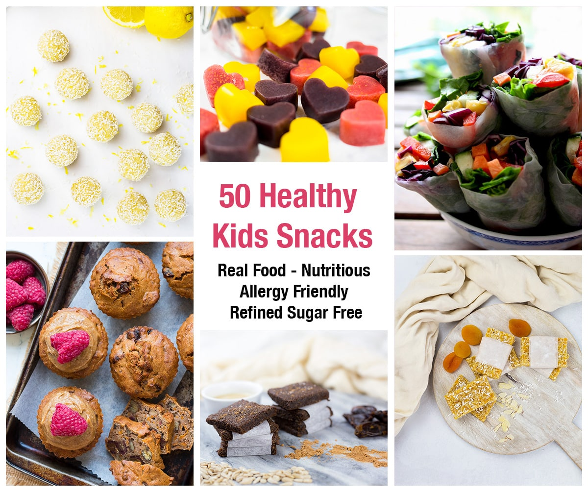 Collage of lemon bliss balls, gummies, veggie wraps, carrot muffins, tahini bars, apricot slice with text saying 50 healthy kids snacks, real food, nutritious, allergy friendly, refined sugar free.