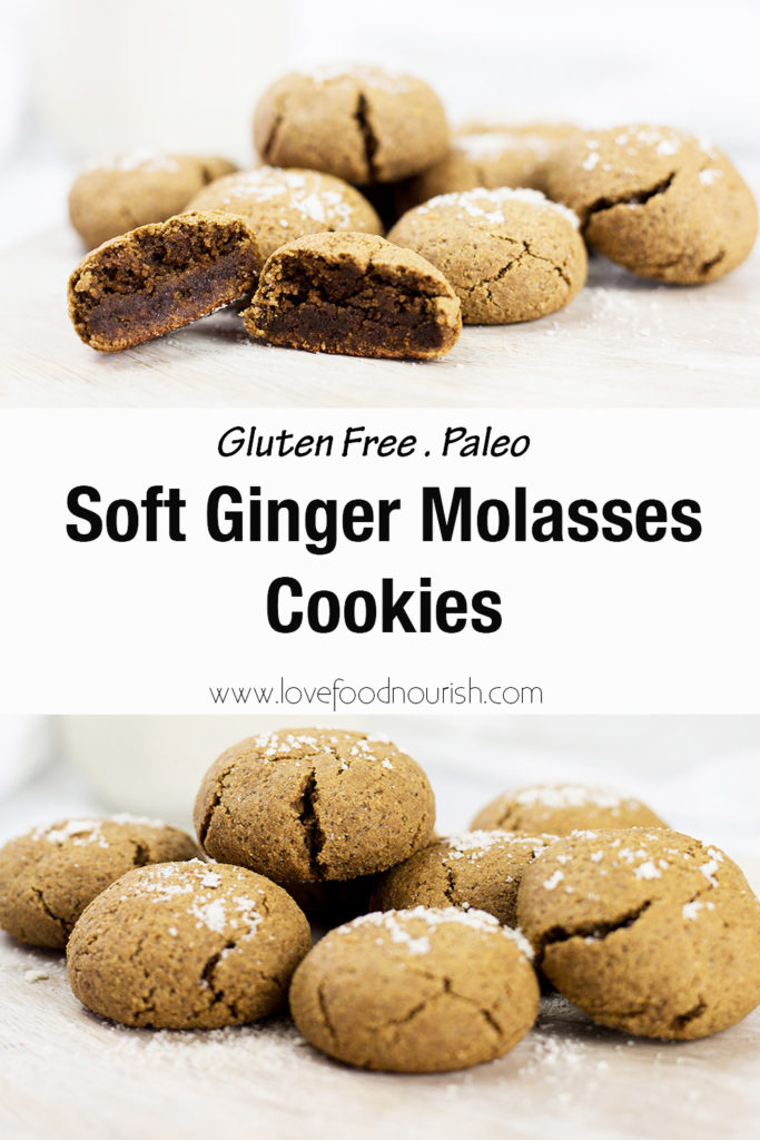Pinterest Collage with text showing ginger molasses cookies cut open and on bottom on board with milk.
