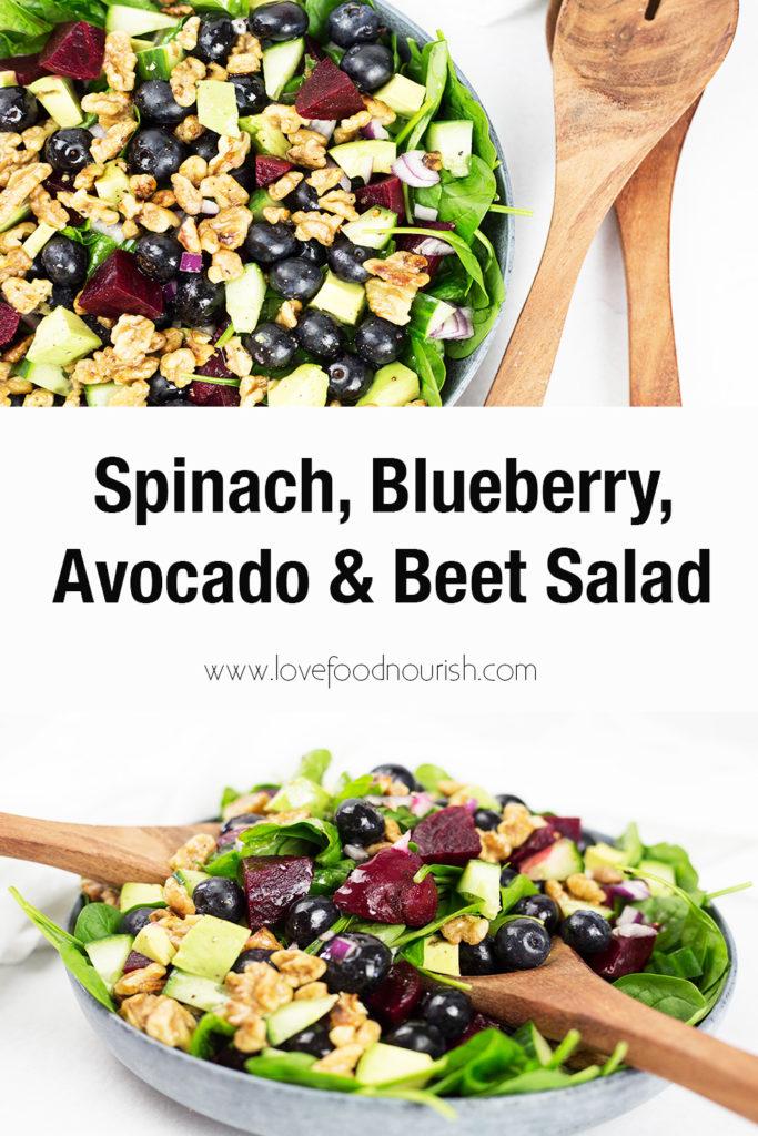Spinach, Blueberry, Avocado & Beet Salad