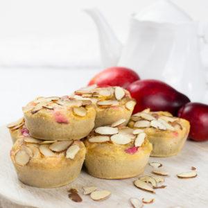 Close up of buckwheat plum muffins