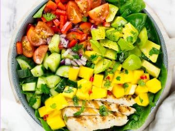 Birdseye view of chicken mango salad square photo