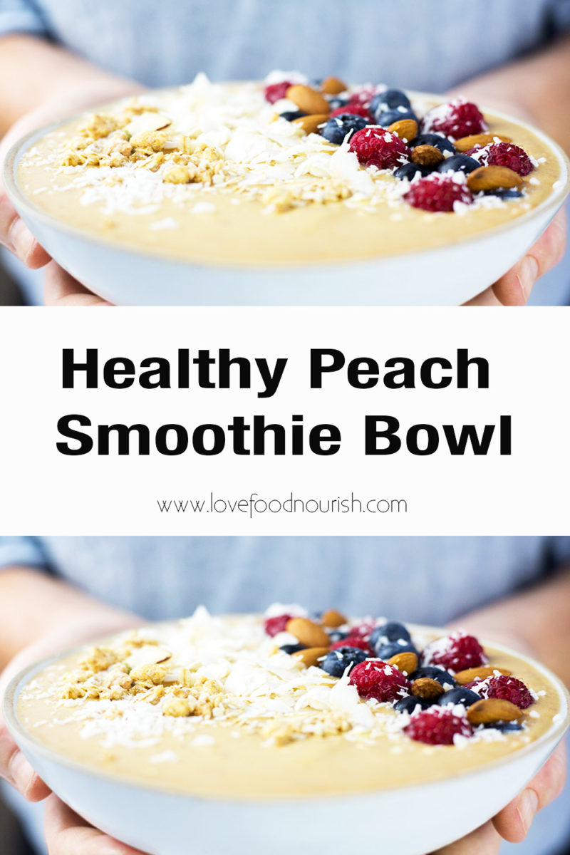 hands holding peach smoothie bowl with text graphic in the middle saying healthy peach smoothie bowl.