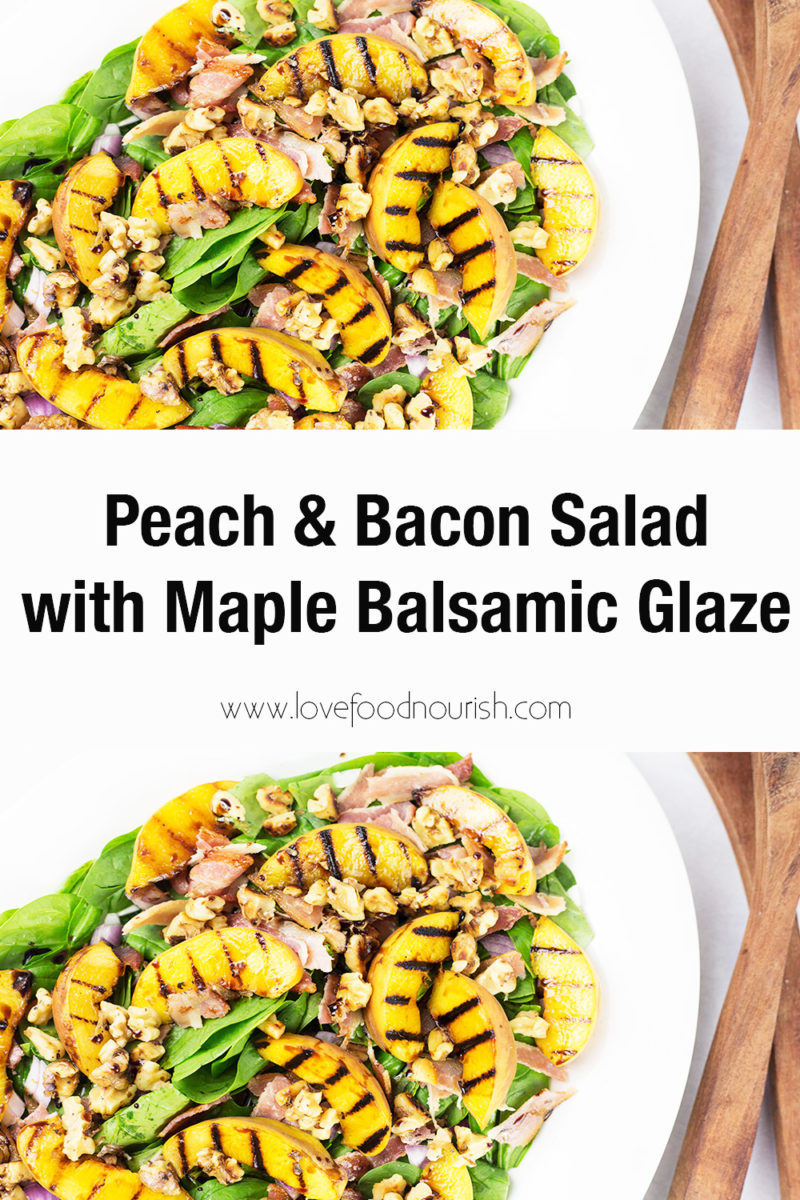 peach and bacon salad on white platter with brown serving spoons to the right. text in the middle saying peach and bacon salad with maple balsamic glaze.