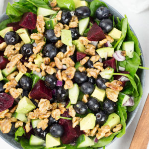 Close up of blueberry, spinach and beet salad for salad recipes category