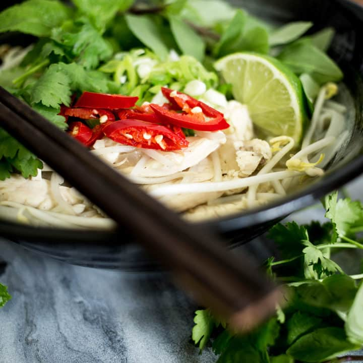 Close up of chicken pho for soy free category.