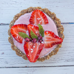 Close up of strawberry tart for sweets and dessert cateorgy.
