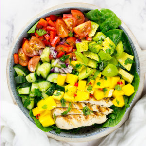 Close up of chicken mango salad for Whole30 category.