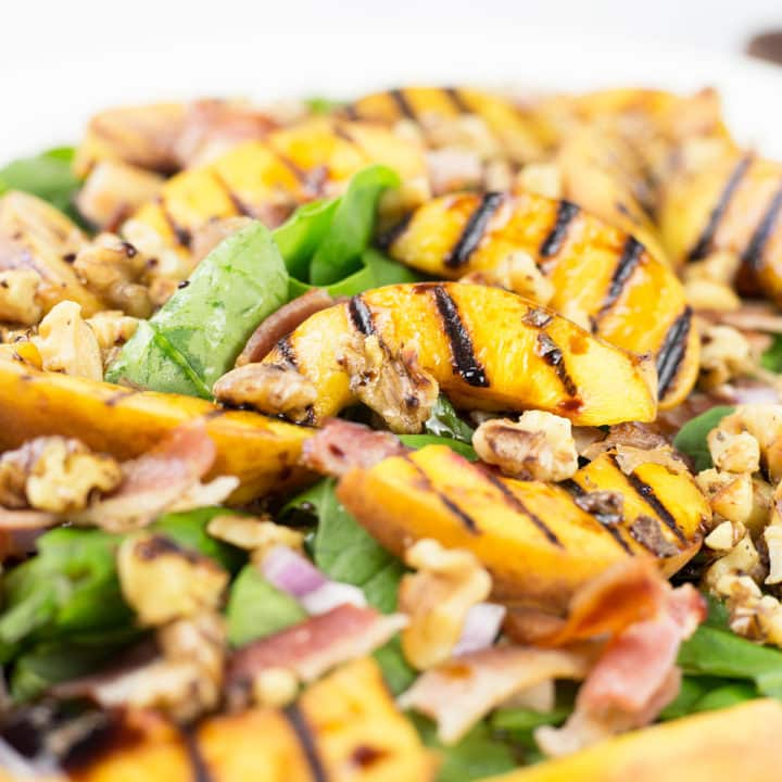 Peach and Bacon Salad with a Maple Balsamic Glaze