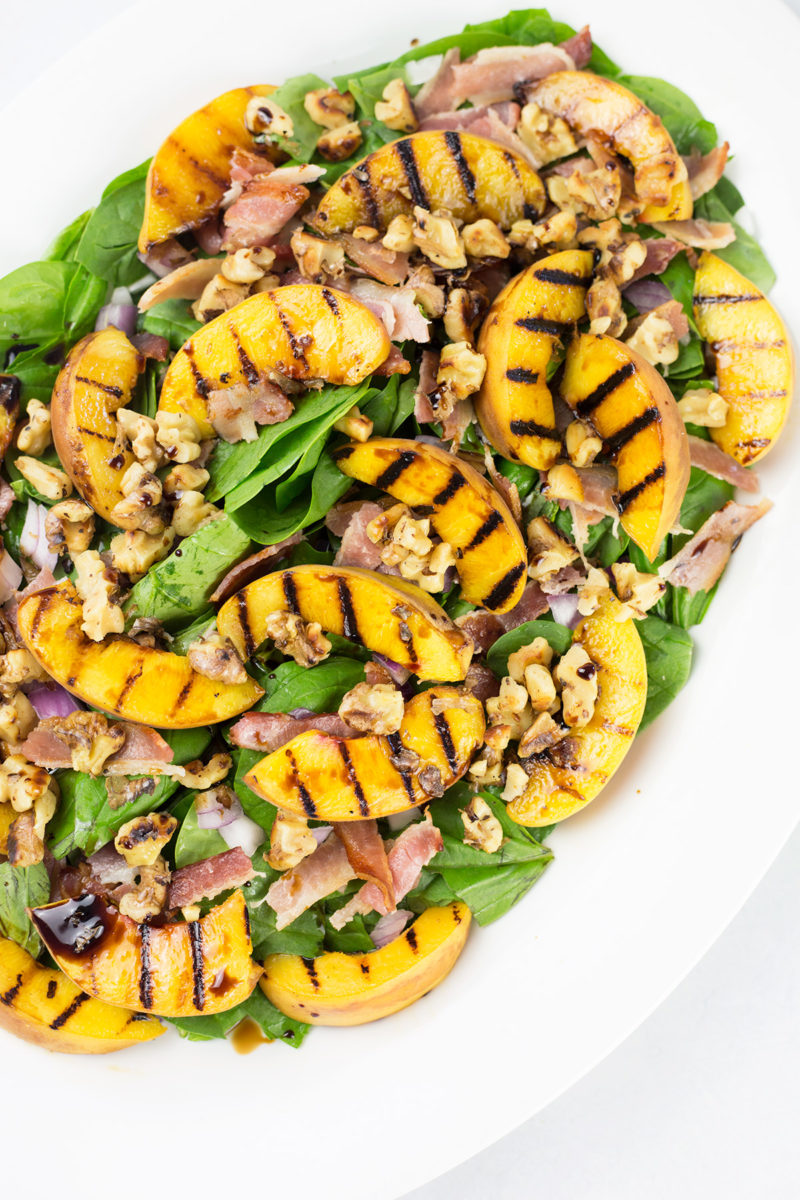 Birdseye view of peach and bacon salad