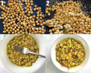 Step by step process shots for making curried chickpeas. Steps 1-4.