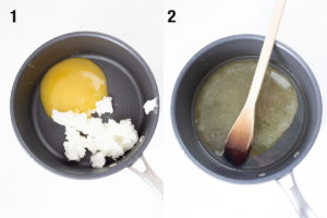 Process shots - coconut oil and honey in pan, and melting liquids in a pan.