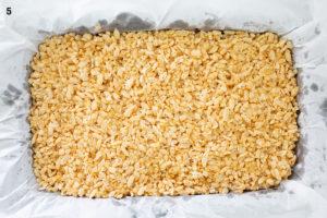 Rice bubble slice in baking tray