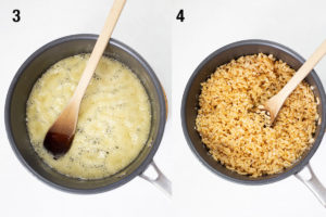 Honey and coconut oil bubbling in pan, then rice bubbles stirred into liquid.