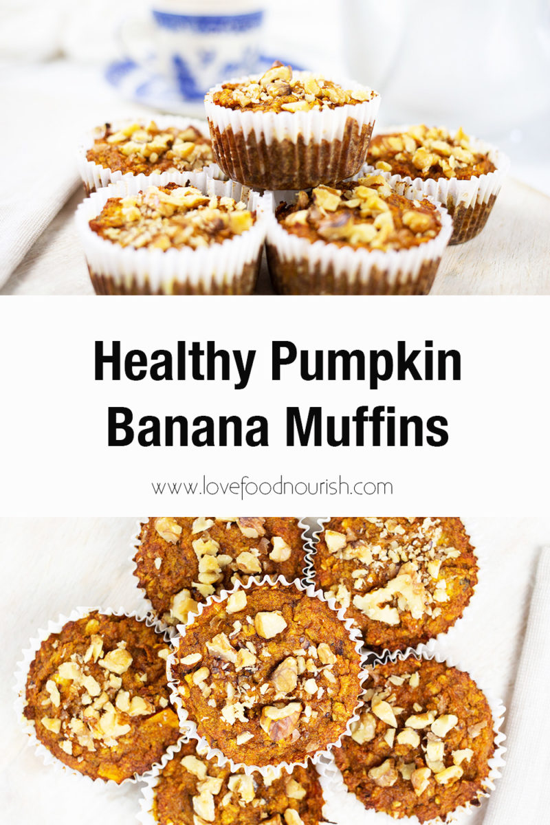 Banana pumpkin muffins with teapot and cup and sauce in the background. Text overlay saying helathy pumpkin banana muffins