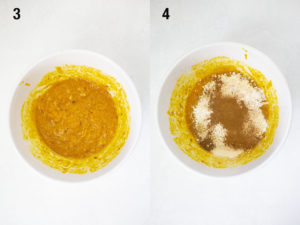 Mxied in pureeed pumpkin and banana then adding dry ingredients into bowl.