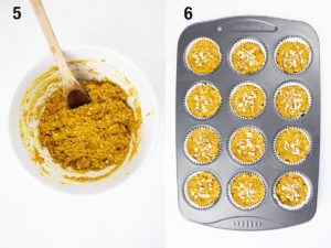 Mixing muffin ingredients altogether and then batter in muffin tray.