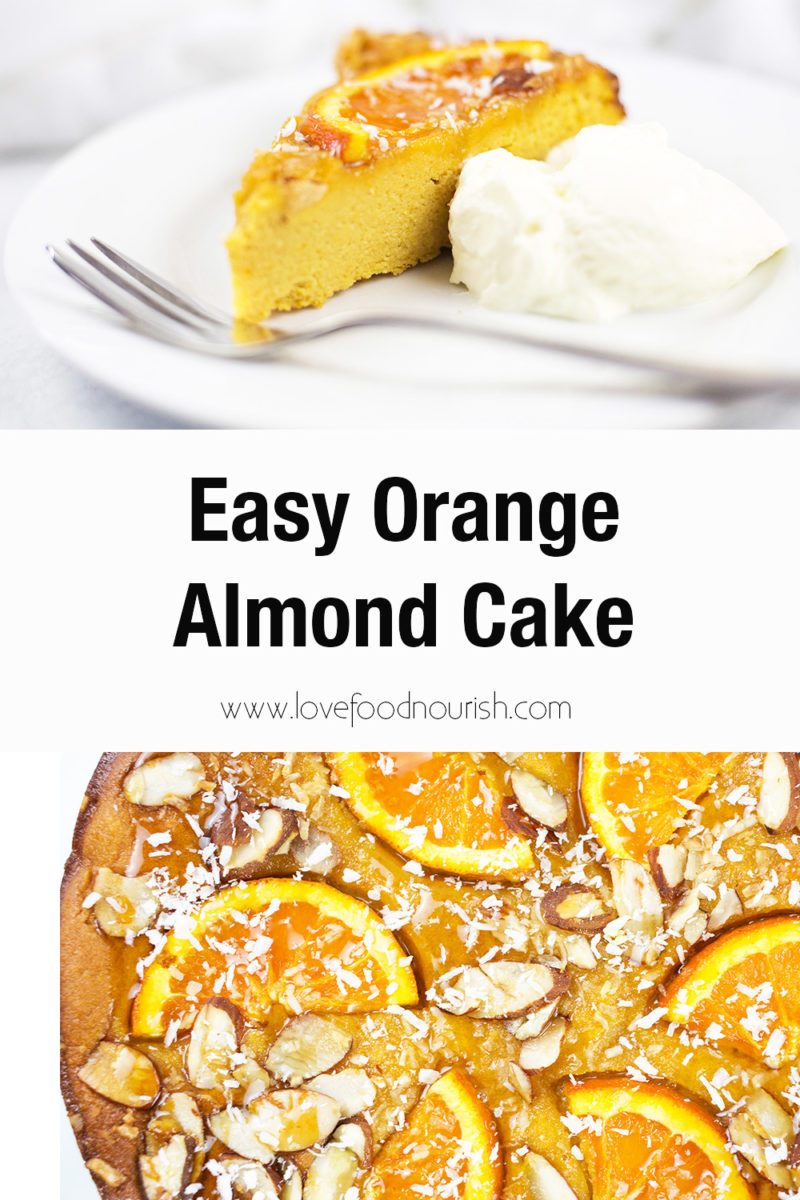 Slice of orange almond cake with yoghurt on top with close up of cake on bottom. Text overlay saying easy orange almond cake.